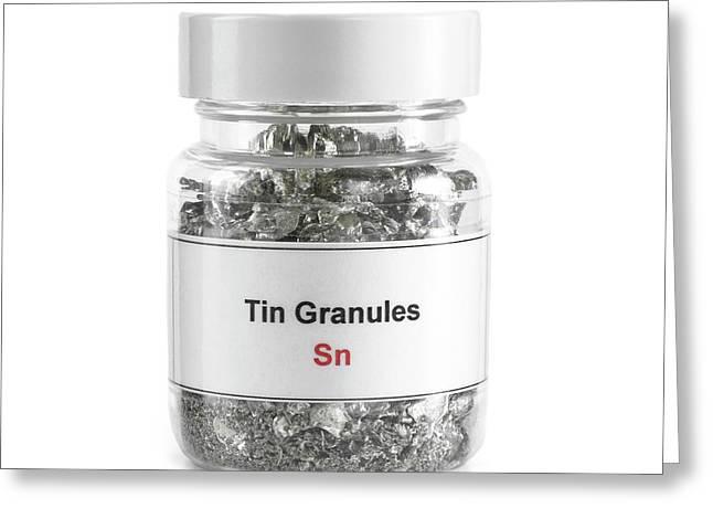 Jar Containing Tin Granules Greeting Card