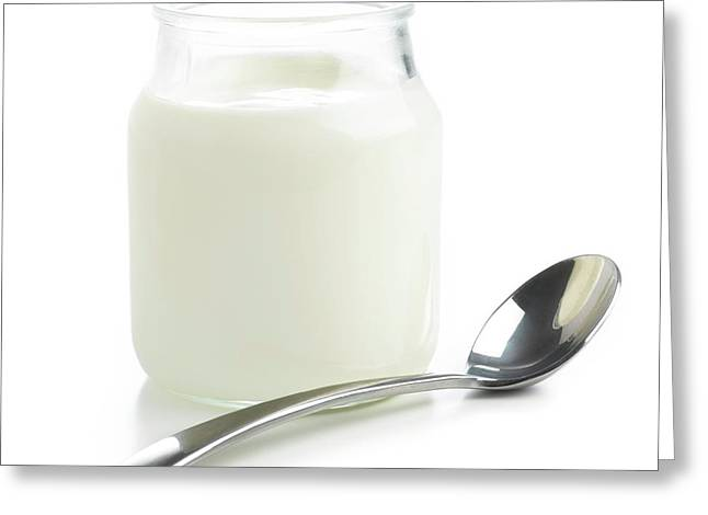 Jar Of Fresh Yoghurt And Spoon Greeting Card