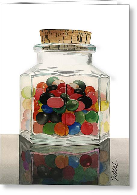 Greeting Card featuring the painting Jar Of Jelly Bellies by Ferrel Cordle