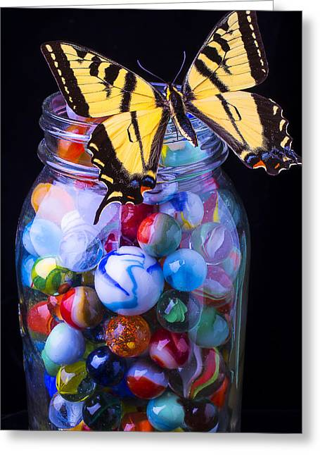 Jar Of Marbles With Butterfly Greeting Card by Garry Gay