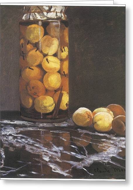 Jar Of Peaches Greeting Card by Claude Monet