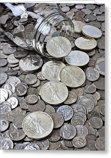 Jar Spilling Silver Coins Greeting Card