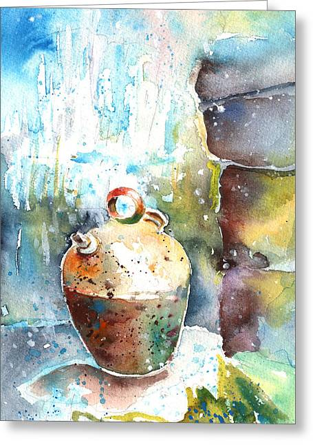 Jar Under A Waterfall Greeting Card by Miki De Goodaboom