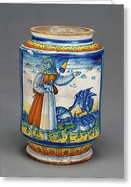 Jar With A Woman And Geese Unknown Faenza Greeting Card