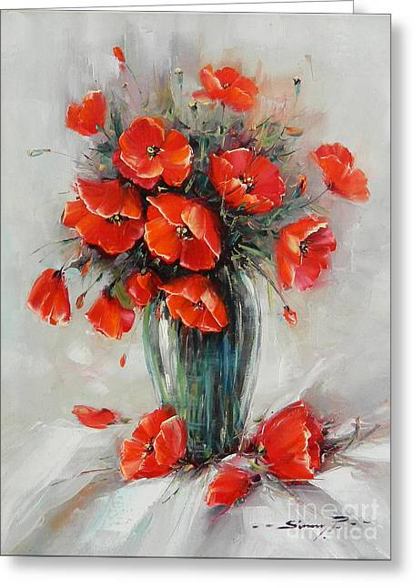 Jar With Poppies Greeting Card by Petrica Sincu