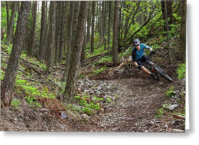 Jared Lynch Mountain Biking The North Greeting Card by Chuck Haney