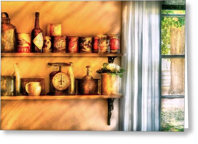 Jars - Kitchen Shelves Greeting Card by Mike Savad