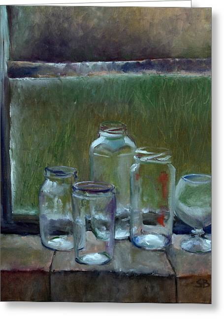 Jars On Summer Windowsil Greeting Card