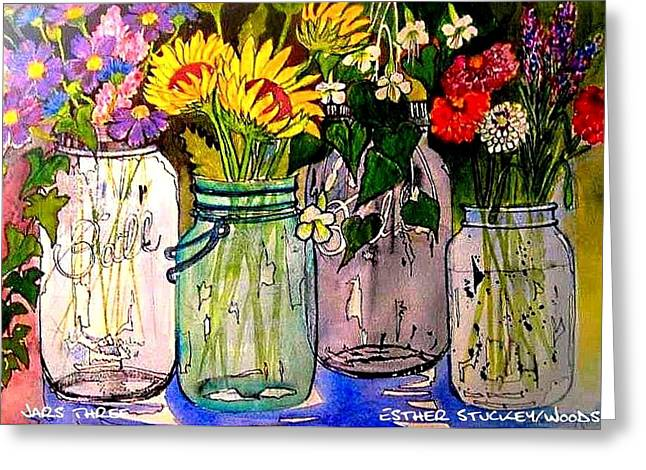 Jars Three Greeting Card by Esther Woods
