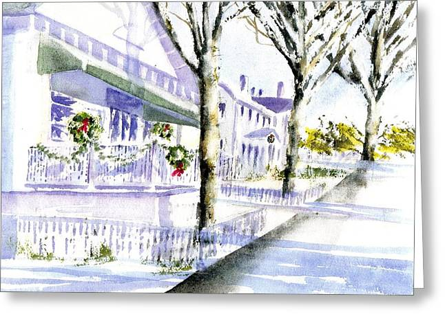 Jarves Street December Greeting Card by Joseph Gallant