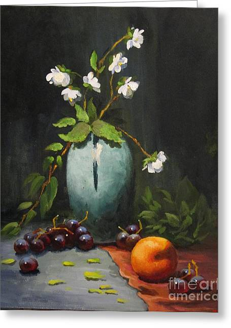 Greeting Card featuring the painting Jasmine And Peach by Carol Hart