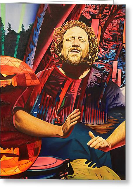 Greeting Card featuring the painting Jason Hann At Horning's Hideout by Joshua Morton