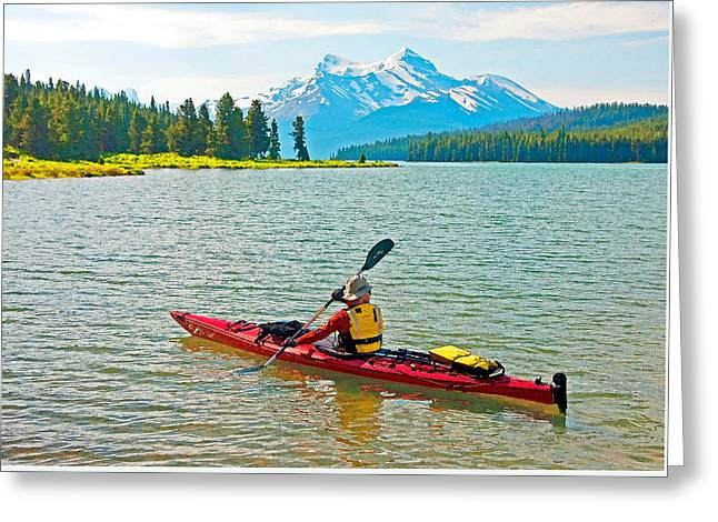 Jasper Park Kayaker Greeting Card by Dennis Cox
