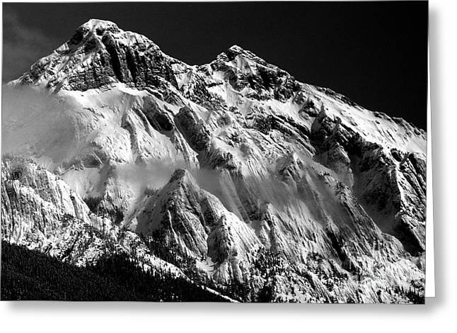 Jasper - Snow Packed Mountain In Spring Greeting Card