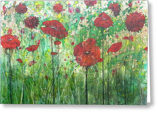 Greeting Card featuring the painting Java Poppy Field by Christy  Freeman