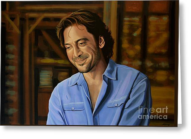 Javier Bardem Painting Greeting Card