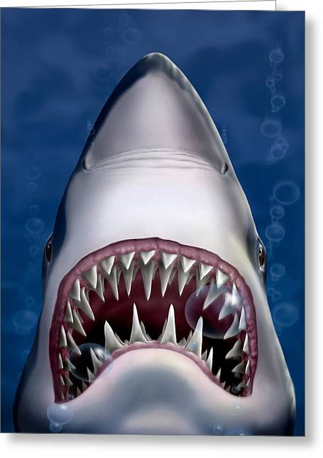 Jaws Great White Shark Art - Square Format Greeting Card by Walt Curlee