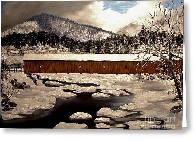 Jay Covered Bridge Greeting Card by Peggy Miller