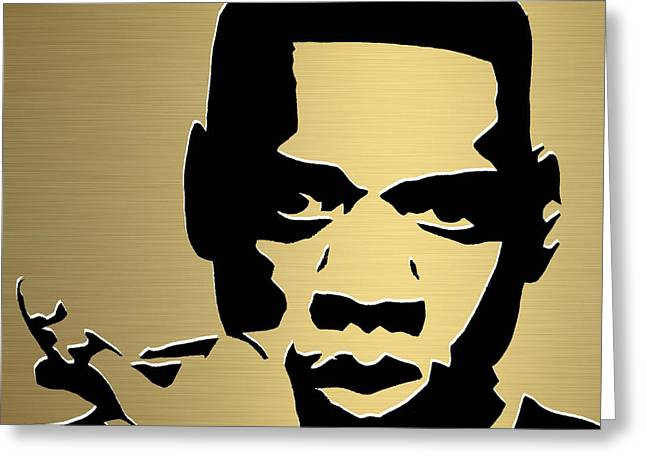 Jay Z Gold Series Greeting Card by Marvin Blaine