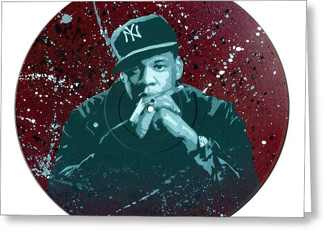 Jay-z Stencil Art On An Upcycled Vinyl Record Greeting Card by Tim Kravel