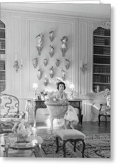 Jayne Wrightsman In Her Library In Palm Beach Greeting Card by Horst P. Horst