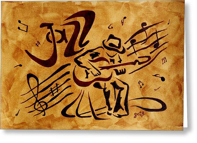 Greeting Card featuring the painting Jazz Abstract Coffee Painting by Georgeta  Blanaru