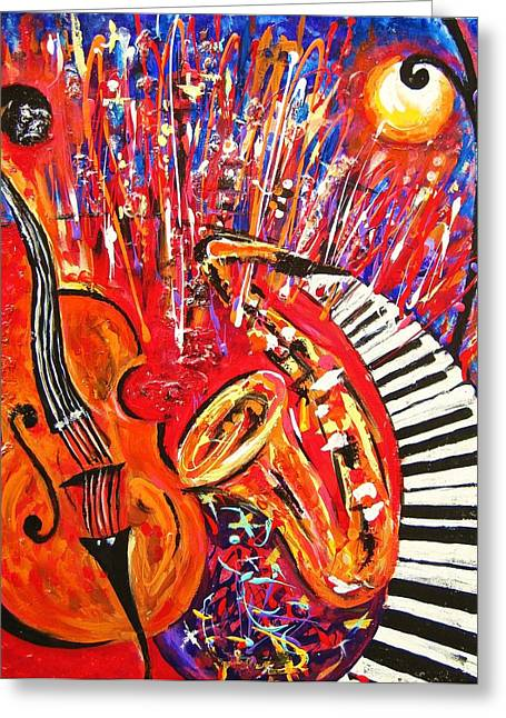 Jazz And The City 2 Greeting Card by Helen Kagan