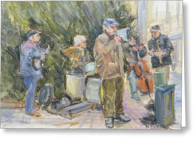 Jazz Buskers, Prague Oil On Canvas Greeting Card