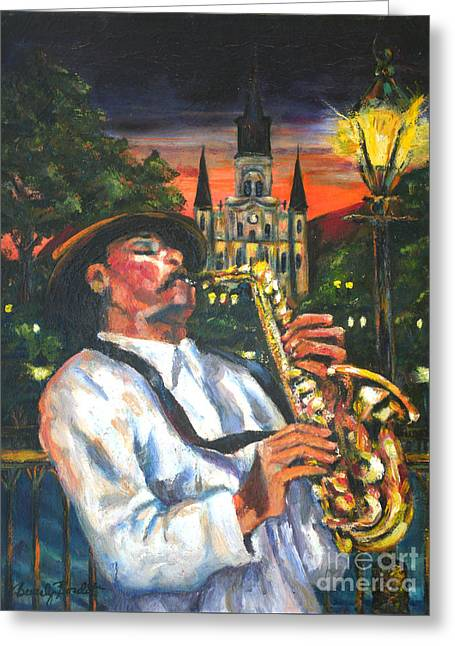 Jazz By Street Lamp Greeting Card