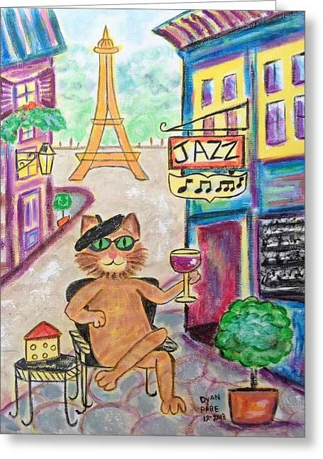 Jazz Cat Greeting Card by Diane Pape