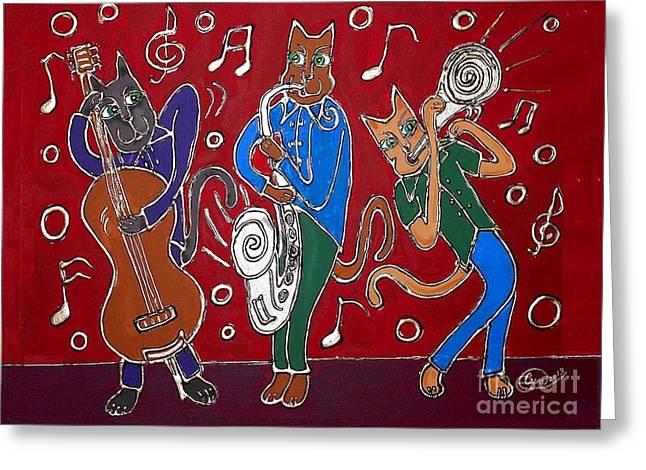 Jazz Cat Trio Greeting Card