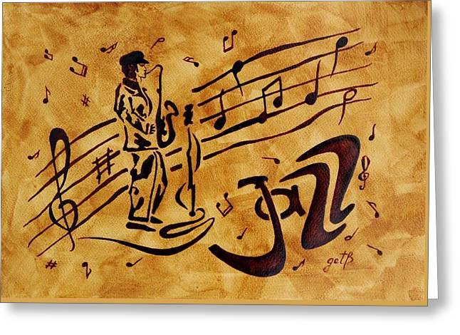 Jazz Coffee Painting Greeting Card by Georgeta  Blanaru