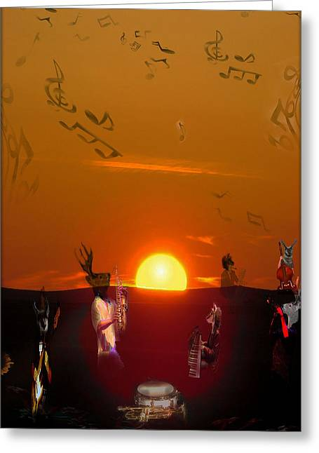 Greeting Card featuring the digital art Jazz Fest by Cathy Anderson
