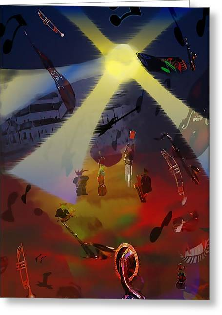 Greeting Card featuring the digital art Jazz Fest II by Cathy Anderson