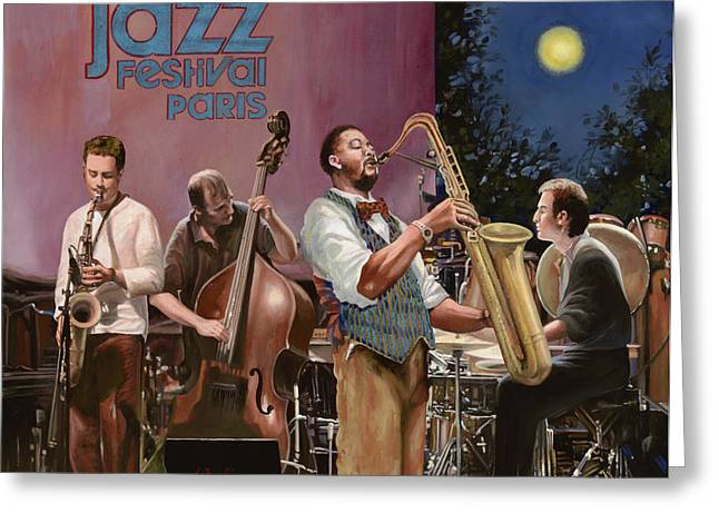 jazz festival in Paris Greeting Card by Guido Borelli