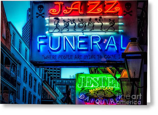 Jazz Funeral And Jester On Bourbon St. Greeting Card