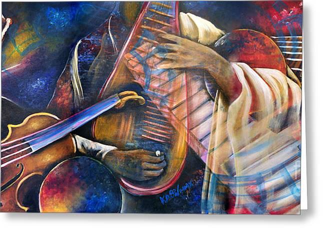 Jazz In Space Greeting Card by Ka-Son Reeves