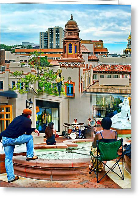Jazz In The Plaza Greeting Card by Nikolyn McDonald
