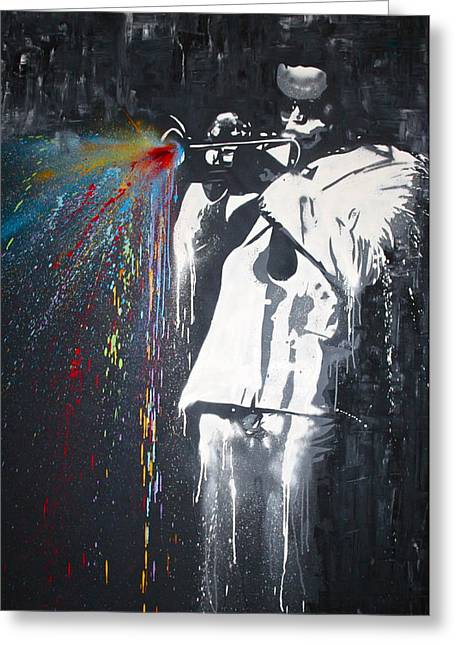 Jazz Man Greeting Card by Aaron Stansberry