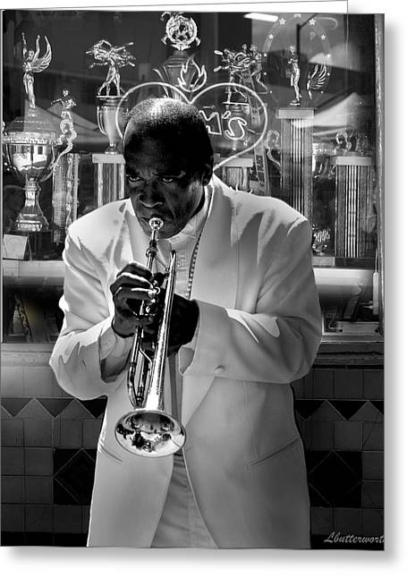 Jazz Man Greeting Card by Larry Butterworth