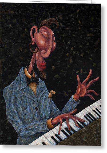 Jazz Man Greeting Card by Ned Shuchter