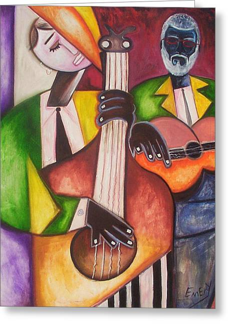 Greeting Card featuring the painting Jazz Men by Emery Franklin