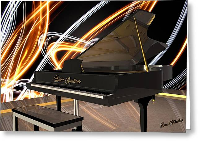 Jazz Piano Bar Greeting Card by Louis Ferreira
