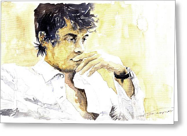 Jazz Rock John Mayer 04  Greeting Card by Yuriy  Shevchuk