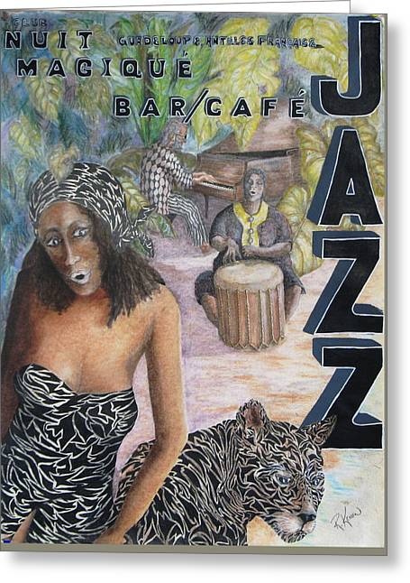 Jazz Greeting Card by Roy Kenen