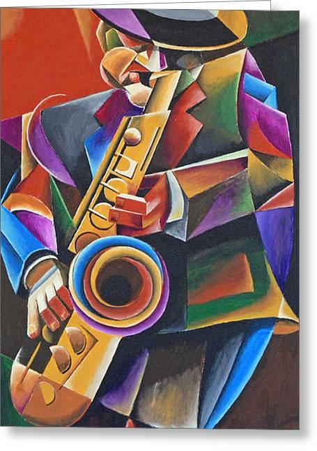 Jazz Sax Greeting Card by Bob Gregory