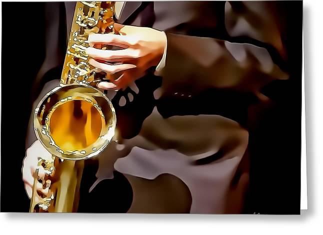 Jazz Sax Player Greeting Card