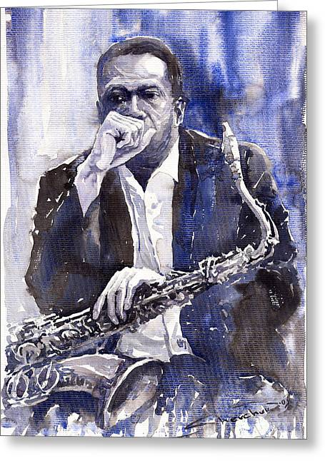 Jazz Saxophonist John Coltrane Blue Greeting Card by Yuriy  Shevchuk