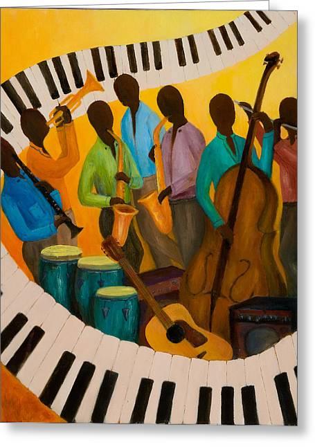 Jazz Septet Greeting Card by Larry Martin