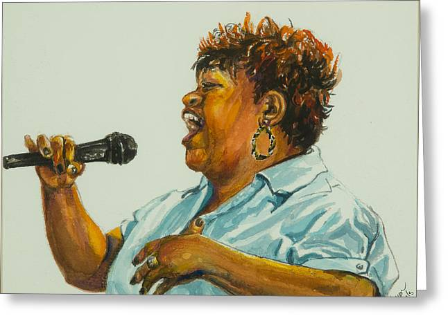 Jazz Singer Greeting Card by Sharon Sorrels